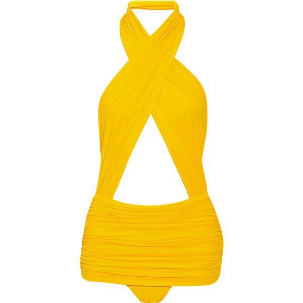 Norma Kamali Mio ruched swimsuit ($390) ❤ liked on Polyvore featuring swimwear, one-piece swimsuits, swimsuits, beach, bikini, yellow, one piece bikini, halter one piece bathing suit, halter bikini and scrunch bikini