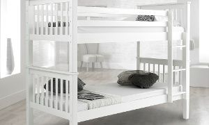 White Wooden Bunk Bed Frame (£199.99) With Two Mattresses (£299.99) With Free Delivery