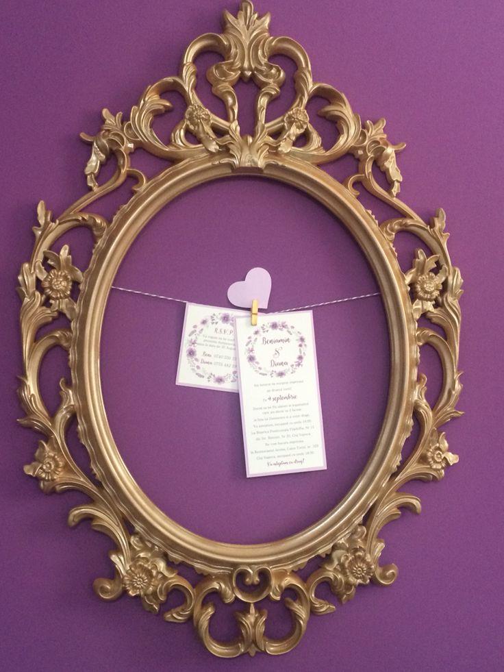 Purple and gold wedding.. Invitations by Danielle Design