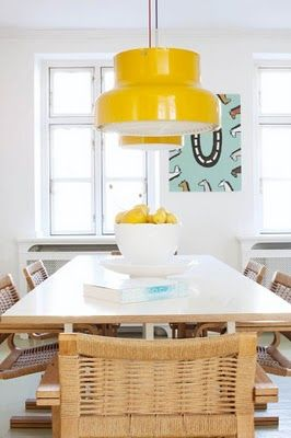 Scandinavian Design - love the yellow light pendents