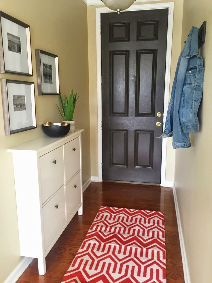 Behind the Big Green Door Entryway makeover! Ideas on how to make a narrow entryway functional!