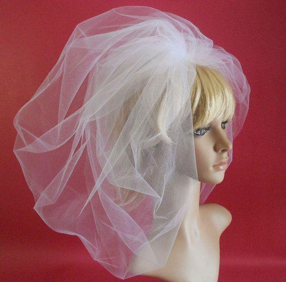 White Bubble Wedding Veil by IrmasElegantBoutique on Etsy, $55.00