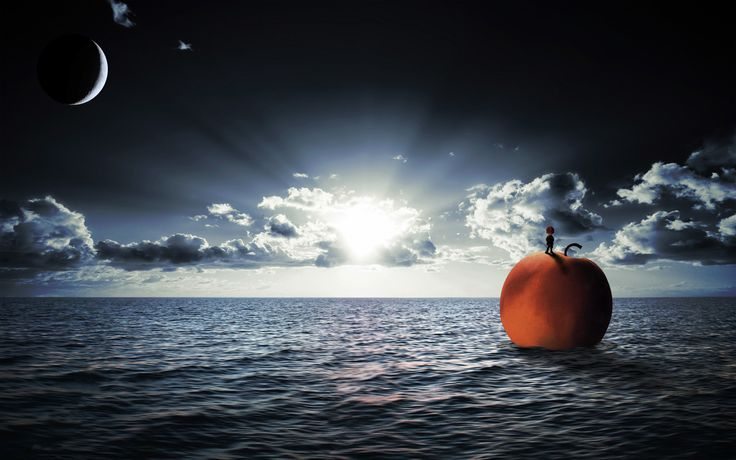 James and the giant peach - floating on the ocean