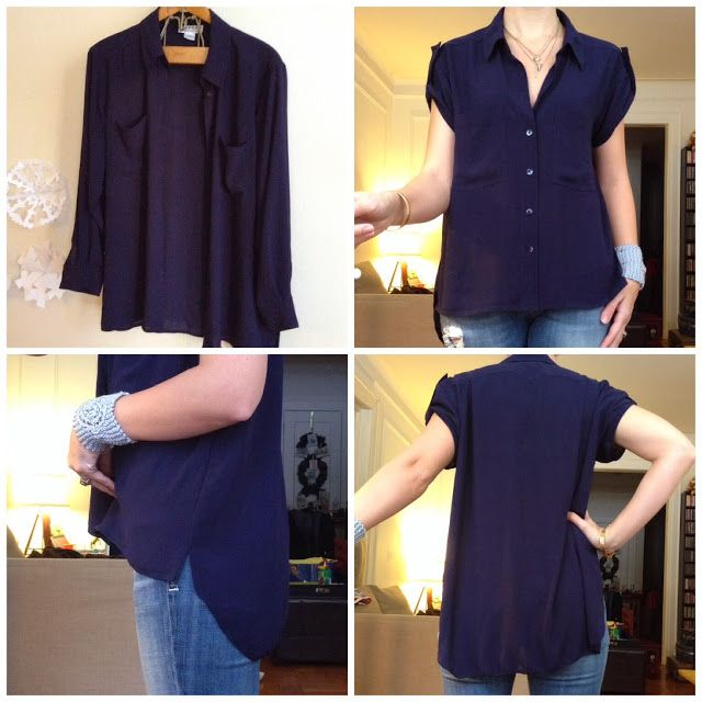 My first refashion of 2014...a copycat! [Beautiful refashion of a blouse by Andrea from Little did you know with nice instruction for making one yourself. - January 2014]