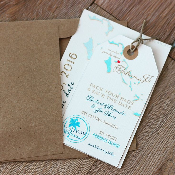 destination wedding save the dates and invitations%0A Bahama Save the Date Luggage Tag Magnet and Information card set