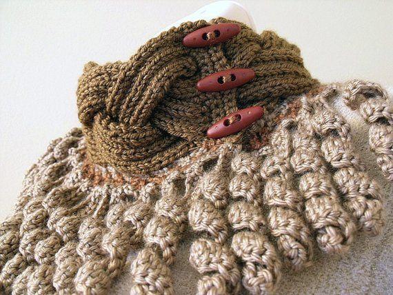 Knit crochet scarflette neckwarmer cowl brown beige with corkscrew fringe