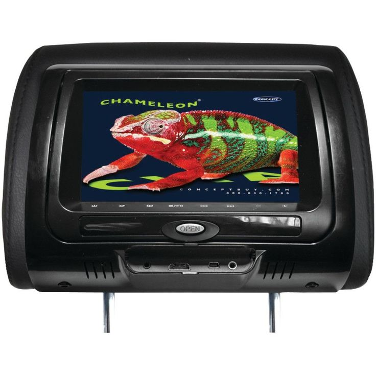 """Concept 7"""" Chameleon Headrest Monitor & Dvd Player With Hd Input Ir Transmitter & 3 Color Covers (with Built-in Dvd Player)"""