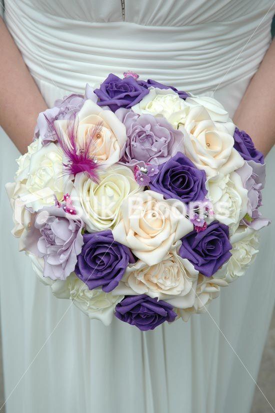 Purple Ivory Rose Wedding BouquetPastel Purple Peach Bouquet