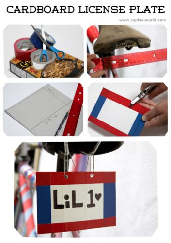 Site has some cute ideas for how to decorate your bike and give it something a little extra... How to make a personalized license plate|sophie-world.com