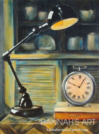 Artist:HANNAH, Old reading lamp and clock, oil on canvas, 450 x 600, Price on request.