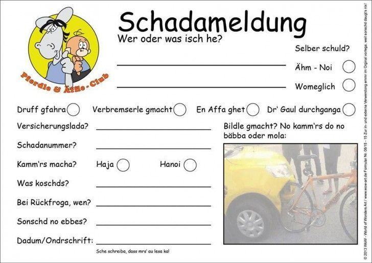 Schadensmeldung Schwabisch Humor Funny Fun