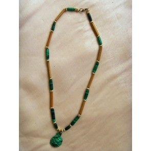 African malachite and genuine bamboo necklace, 50cm