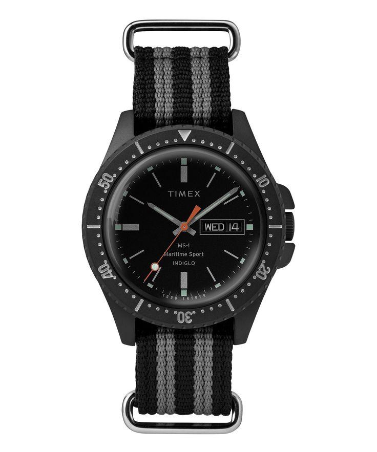 TODD SNYDER Timex + Todd Snyder Maritime Sport MS1 Watch in Black. #toddsnyder #