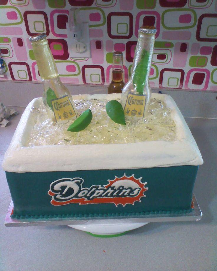 Miami Dolphin Cooler made at   Cottagecakelady.com