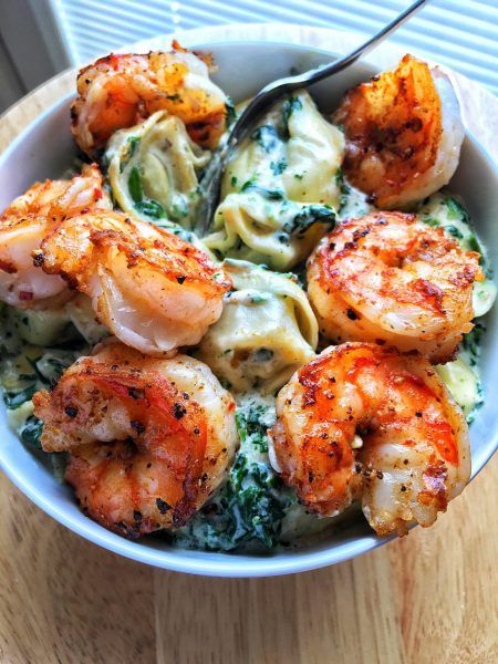 Creamed Spinach Tortellini and Shrimp