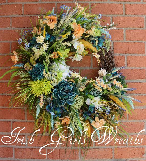 SALE - Summer Coastal Wreath, Teal Wreath, Beach Sunrise Wreath, Rustic Seaside Wreath, green, turquoise wreath, blue
