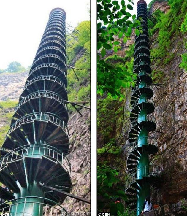 TAIHANG  Con sus 100 metros, es la escalera caracol más alta del mundo. Está situada en la demarcación entre las provincias de Shanxi y Henan, en China, Asia.