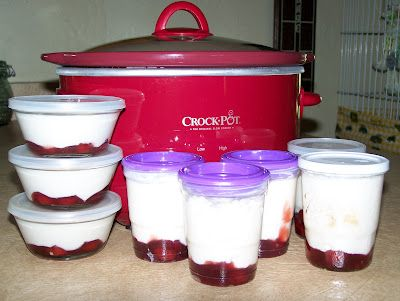 Easy Crock Pot Greek Yogurt, turned out great!  I used 1% milk instead of the whole milk.  I chopped up some frozen cherries and put in the bottom of my containers.  I drizzled a little honey over them.  Very easy!