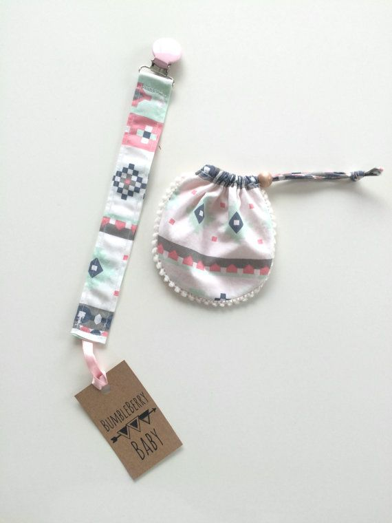 Pink Aztec Binky Clip and Pouch by ShopBumbleBerryBaby on Etsy