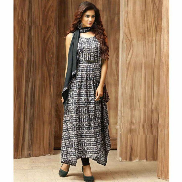 Cotton Multicolour Printed Aline Style Kurti for Women #womensfashion #kurtaforwomen #cottonkurtis #alinekurtis #fashion #style #shopping #indianwear #anklelength #kurtis