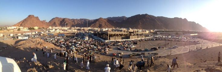 Battle ground of Uhud with unfinished new Masjid