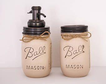Mason Jar Bathroom Set,bronze mason jar bathroom set, mason jar, mason jar toothbrush holder, mason jar soap dispenser, custom mason jars