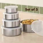 5 pc Stainless Steel bowl Set with Lids10Pieces Sets, Storage Bowls, Food Storage, Bowls Sets, Lids Sets, Steel Bowls, Drake Food, 20Piec Stainless, Stainless Steel