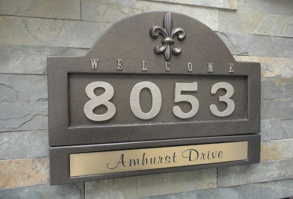 Fleur De Lis Address Plaque and Nameplate / French Country House Numbers / Personalized