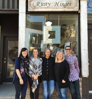Outside Rusty Hinges, Annie Sloan Stockists in Leslieville, Ontario in Canada.