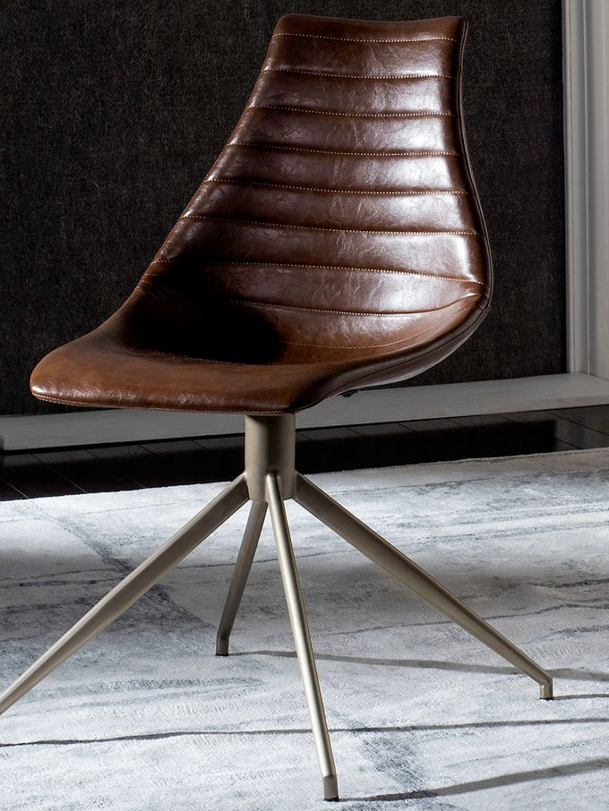 Lynette Mid-Century Modern Leather Swivel Dining Chair on Gilt