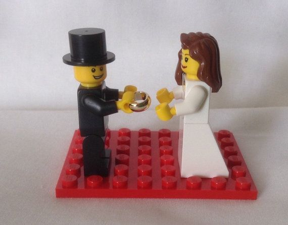 Lego Wedding Cake Topper Gift Favor Made to Order by HeartOfBricks