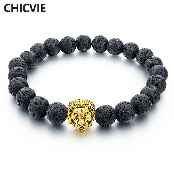 CHICVIE Natural Stone Gold Plated Lion strand Bracelet Femme Trendy Handmade Beads Bracelets Ethnic Men Jewelry Gifts SBR160001