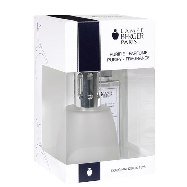 Pack Cocoon Grivré Lampe Berger    A complete package containing a Lampe Berger fragrance diffuser and a 180ml refill with the fragrance 'Santal Envoutant'. The lamp is designed in white glass.    https://www.maisonparfum.com/en/lamps-catalytic/4409-pack-cocoon-grivre-lampe-berger-3127290046116.html    #perfume #homefragrances #parfum