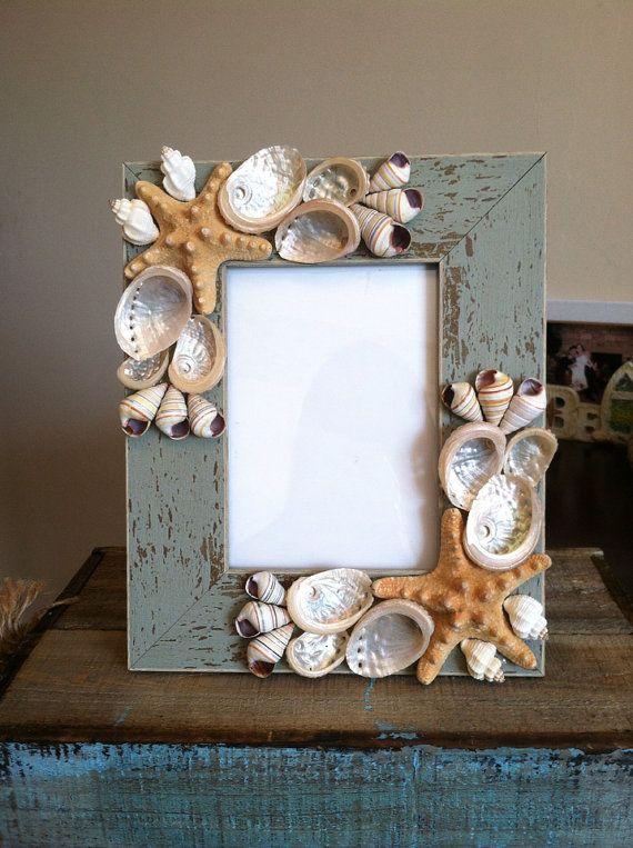 Beach Decor Seashell Picture Frame Starfish Picture Frame Shell Frame Seashell Frame Coastal Home Decor