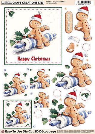 Craft Creations A4 die cut decoupage - Gingerbread Man, Christmas