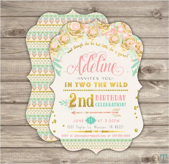 Boho Birthday Invitation In Two The Wild Party girl by cardmint
