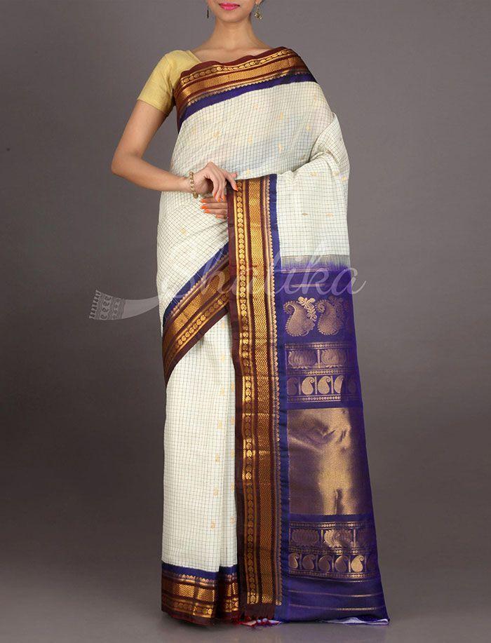 Bhuvana Pristine Checked Surface Pure #GadwalSilkCotton Saree