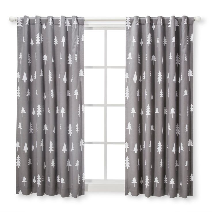 "Light Blocking Curtain Panel Trees (42""x63"") - Cloud Island - Gray"