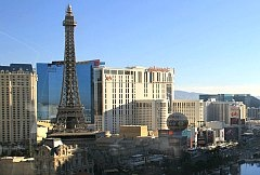 Paris Las Vegas hotel - you could ride up the Eiffel Tower in a glass elevator and see Vegas from above! Or have a romantic lunch at Eifel tower restaurant.