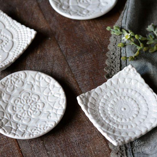 Vintage Lace ~ tiny dishes, Handmade Australian Ceramics - KW Ceramics
