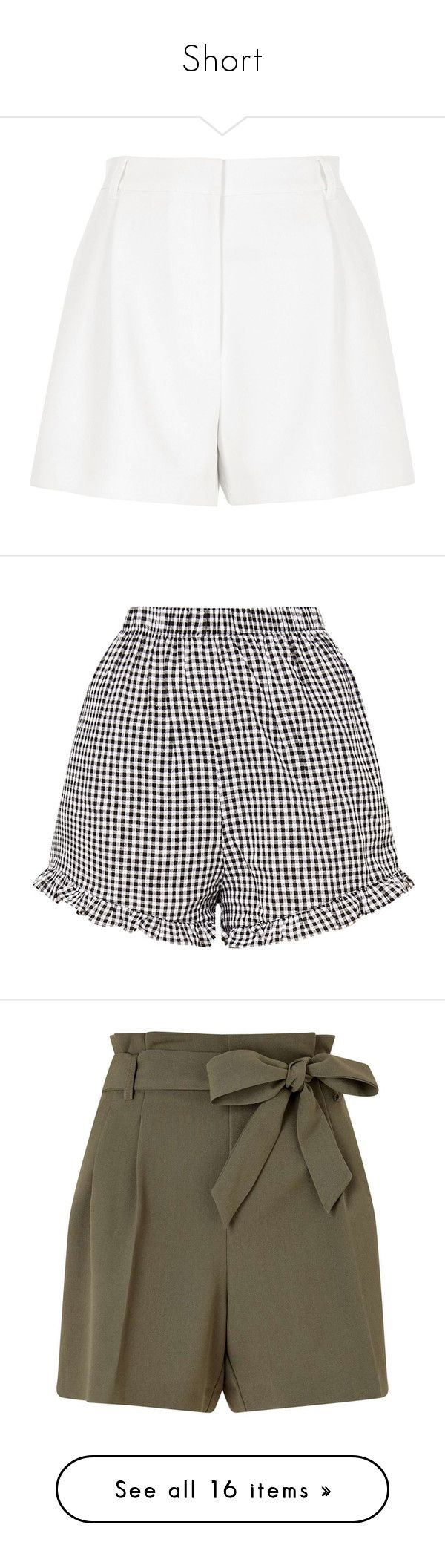 """Short"" by francescabi ❤ liked on Polyvore featuring shorts, bottoms, smart shorts, white, women, high rise shorts, high-waisted shorts, white high waisted shorts, river island and high-rise shorts"
