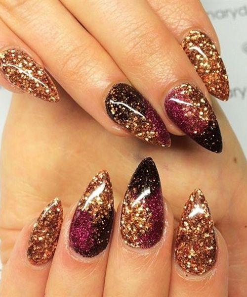 Pretty Galaxy Pointy Nail Designs For Prom
