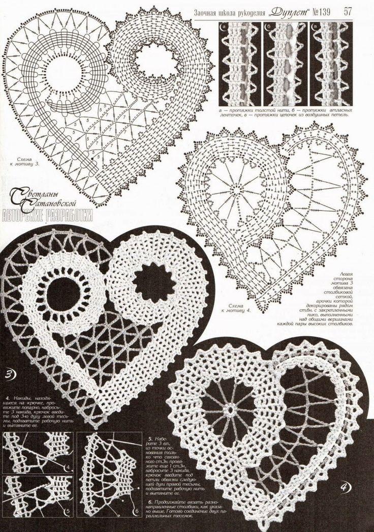 Crochet e arti: Cuori pizzo