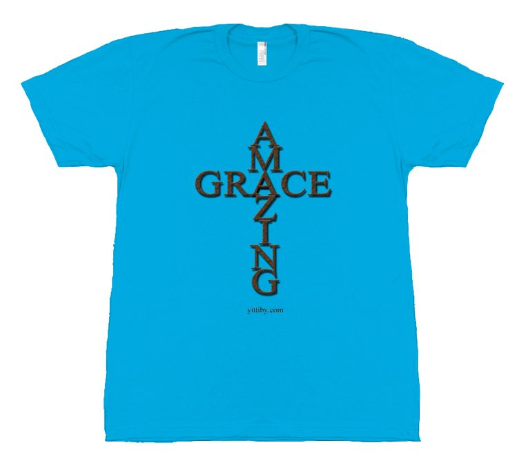 Men's Light Blue Amazing Grace Christian T Shirt by Yittiby.com