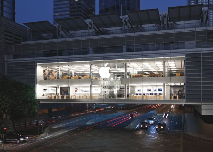 Apple opened a location in Hong Kong's IFC Shopping Center in 2011. The store is suspended over the street, situated between two giant skyscrapers.