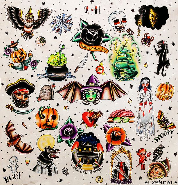 Halloween Tattoo Flash 2 by:Alejandra L Manriquez. |  #traditionaltattoo #witch #pumpkin #bat