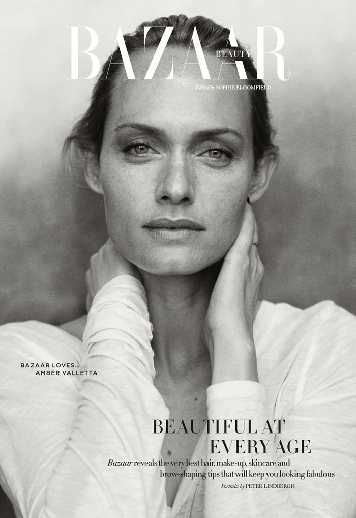 Amber Valetta by Peter Lindbergh for Harper's Bazaar Beauty UK April 2014