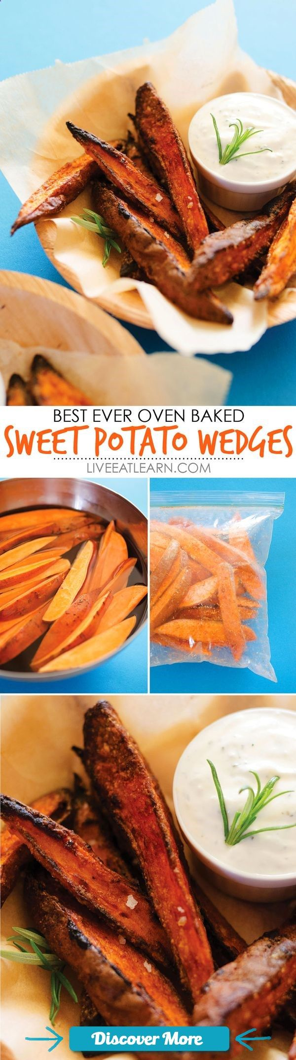 This healthy Oven-Baked Sweet Potato Wedges recipe makes crispy on the outside, tender on the inside, dipped in an herby garlic yogurt sauce fries that youre going to love! Packed with nutrients and low in fat, these are the perfect flavorful vegetarian side dish to your meal or snack for the fall. // Live Eat Learn
