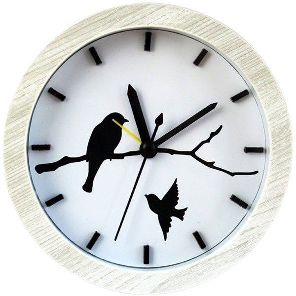 Amazon.com: BXI Handmade Vintage Classic Small Round Silent Table Bird... ($22) ❤ liked on Polyvore featuring home, home decor, clocks, hand made clocks, battery powered alarm clock, white clock, white home accessories and white alarm clock