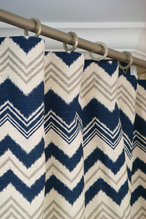 Pair of Rod Pocket Curtains in Navy Blue, Gray and Natural Ikat Nina Zazzle Chevron Zig Zag print